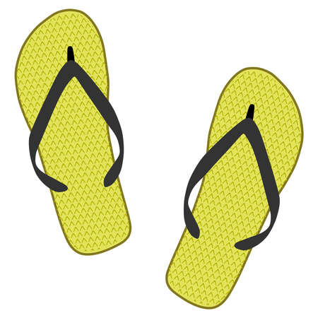 footware: Yellow slippers on a white background
