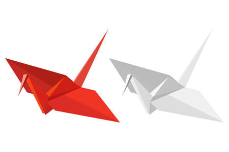 crane: Two paper cranes on a white background
