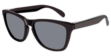 anteojos de sol: Gafas de sol negro vista lateral sobre un fondo blanco Vectores