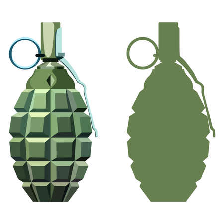 shrapnel: Hand grenade with the key on a white background Illustration