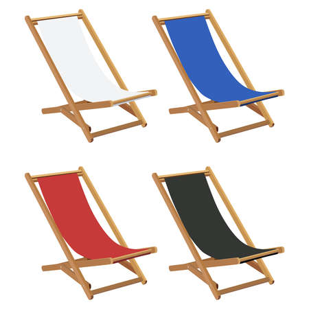 chaise longue: Set of multicolored wooden deck chairs Illustration