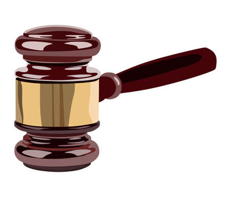 judged: Gavel side view on a white background Illustration