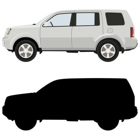 crossover: White SUV on a white background with a silhouette Illustration