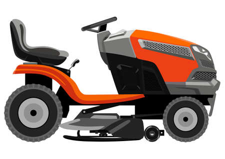 Red lawnmower on a white background Vector