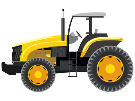 Yellow tractor a side view on white background
