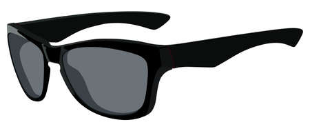 fashion sunglasses: Black sunglasses side view on a white background
