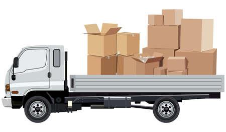 Cargo transportation by car on a white background Çizim