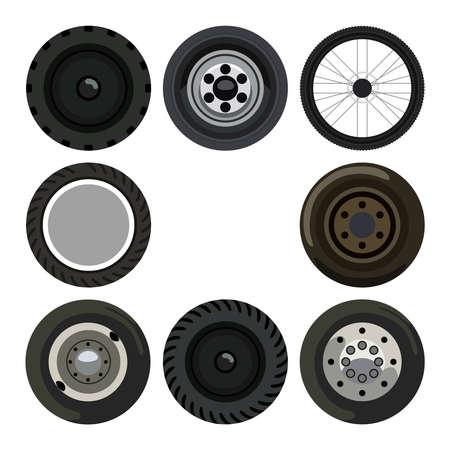 wheel tractor: Different wheels on land transport Illustration