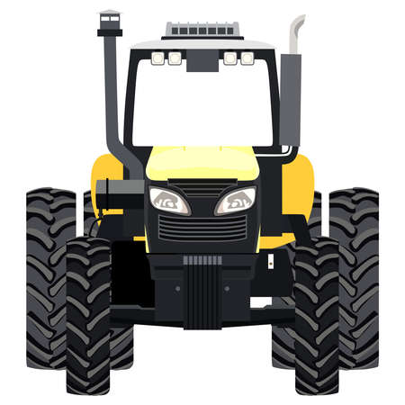 Yellow tractor a front view on white background