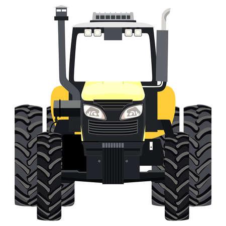 yellow tractor: Tractor amarillo una vista frontal sobre fondo blanco Vectores