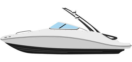 boarded: Motor boat on a white background Illustration