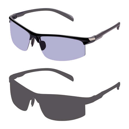 corrective lenses: Black sunglasses side view on a white background