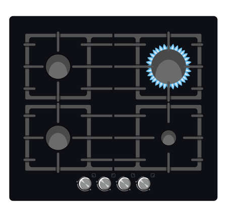 Cooker with burner top view