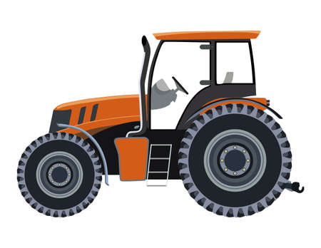 Orange tractor a side view on white background