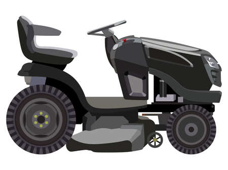 Black lawnmower on a white background Vector