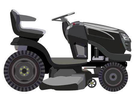 Zwarte grasmaaier op een witte achtergrond Stock Illustratie