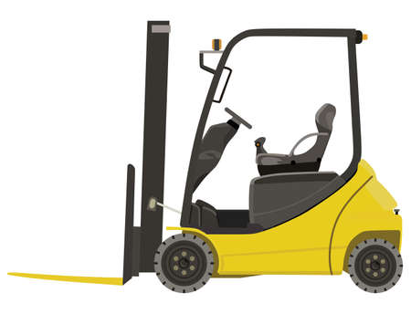distribution picking up: Yellow loader on white background Illustration