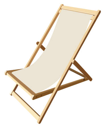 recliner: Wooden beach lounge chair on a white background