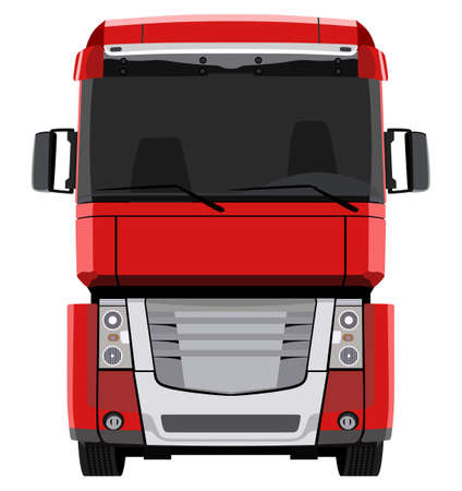 red truck: Front red truck on white background