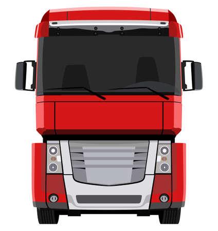 Front rote LKW auf weißem Hintergrund Standard-Bild - 40967108