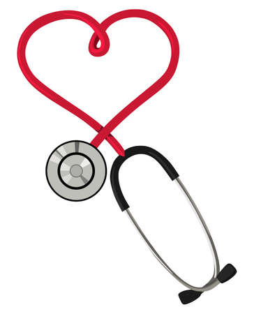 taking pulse: Stethoscope in the form of hearts on a white background Illustration