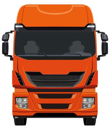 Front orange truck on white background