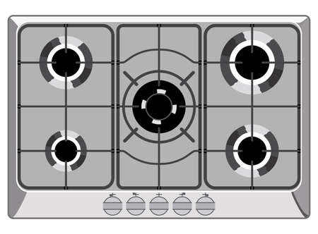 Gray shut down gas stove
