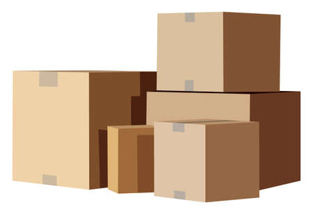 warehouse: Pile of cardboard boxes on a white background