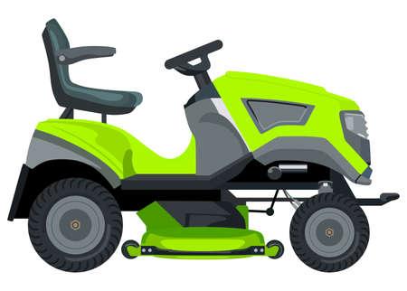 Green grasmaaier op een witte achtergrond Vector Illustratie