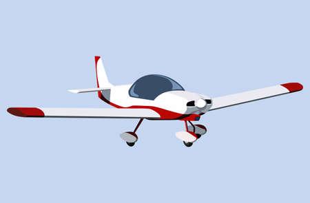 piloting: White screw plane on a blue background