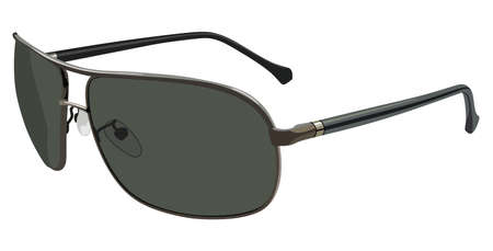 corrective lenses: Green sunglasses side view on a white background Illustration