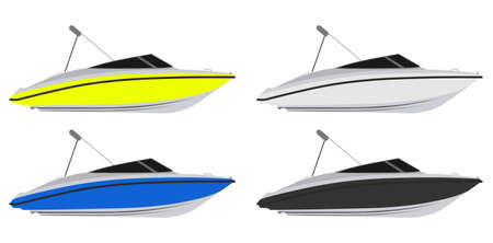 beach side: Set of boats in different colors Illustration