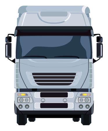 Voorkant van de vrachtwagen op een witte achtergrond