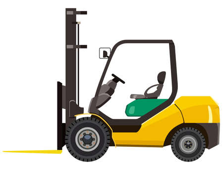 distribution picking up: Yellow loader on a white background Illustration
