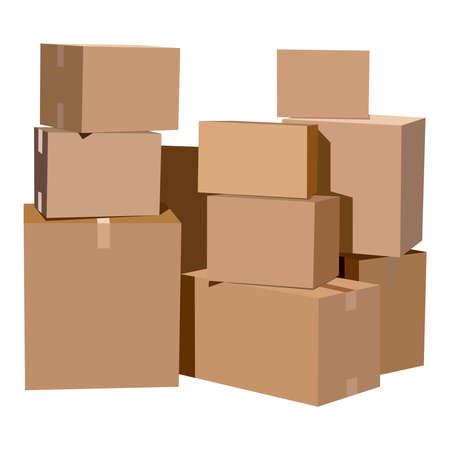 cajas de carton: Pila de cajas de cartón sobre un fondo blanco