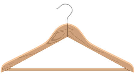 clothing rack: Wooden hanger on a white background