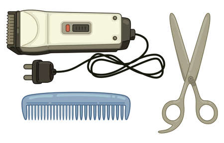 haircutting: Painted hair set on a white background Illustration