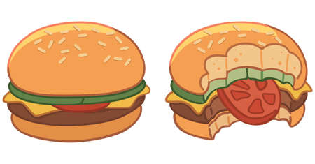 fast food restaurant: Set of two hamburgers, hamburger bitten