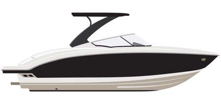 on white: White motorboat on white background