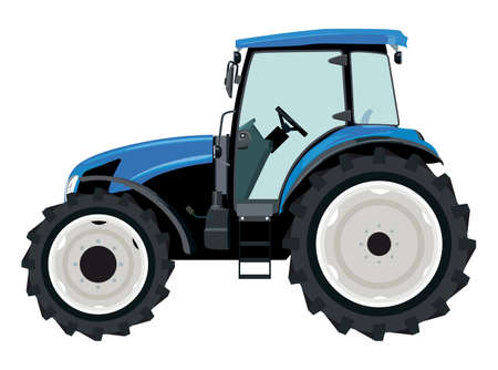 Blue tractor a side view on white background