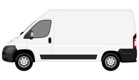 side view: The front side of the light commercial vehicle on a white background