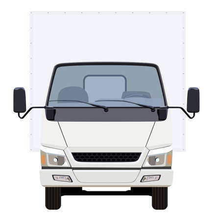white van: The front side of the light commercial vehicle on a white background
