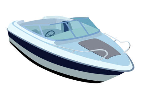 3d sail boat: Blue river boat on a white background Illustration