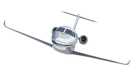 private jet: Flying a plane front view on a white background Illustration