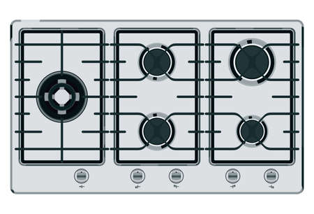 cooktop: Gray-blue shut down gas stove
