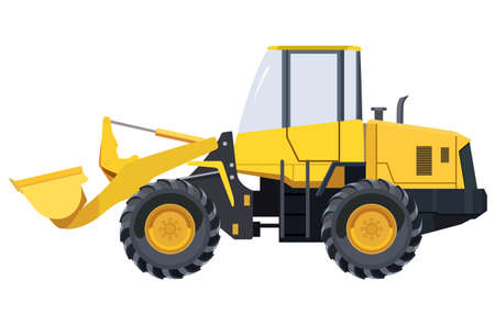 navvy: Yellow excavator side view on a white background
