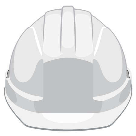 White construction helmet front view Vectores
