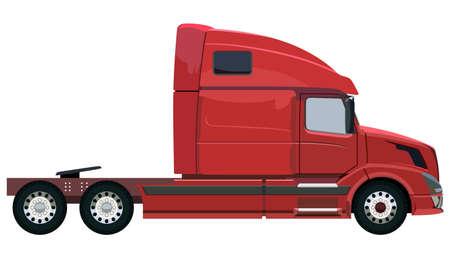 Carro rojo sin un remolque en un fondo blanco Foto de archivo - 46960774