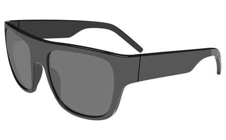 anteojos de sol: Gray gafas de sol vista lateral sobre un fondo blanco Vectores