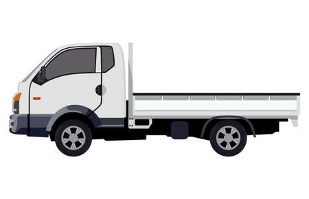 camion: Small truck without cargo on a white background Illustration